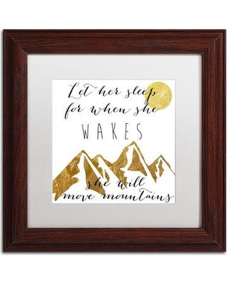 """Trademark Fine Art 'Mountains' by Color Bakery Framed Textual Art ALI5013-W1 Matte Color: White Size: 16"""" H x 16"""" W x 0.5"""" D"""