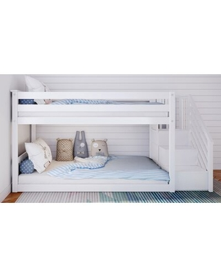 Kean Twin Over Twin Bunk Bed Harriet Bee Bed Frame Color: White