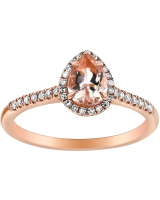 14k Rose Gold Diamonds and Pear Morganite Halo Ring by Beverly Hills Charm (7.5)