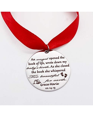 Personalized Silver Engraved Memorial Miscarriage Christmas Ornament