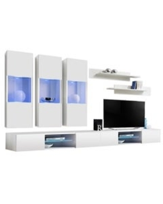 Fly E2 33TV Wall Mounted Floating Modern Entertainment Center (White)