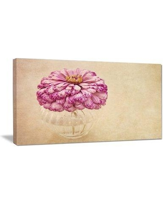"Design Art 'Pink Flower in Vase Watercolor' Painting Print on Wrapped Canvas PT14190- Size: 28"" H x 60"" W"