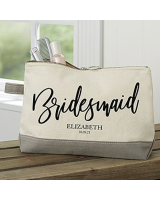 Classic Elegance Personalized Bridal Party Grey Makeup Bag