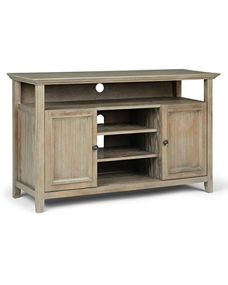 """SIMPLIHOME Amherst SOLID WOOD Universal TV Media Stand, 54 inch Wide, Transitional, Living Room Entertainment Center, Cabinet, Shelves, for Flat Screen TVs up to 60"""", Distressed Grey"""