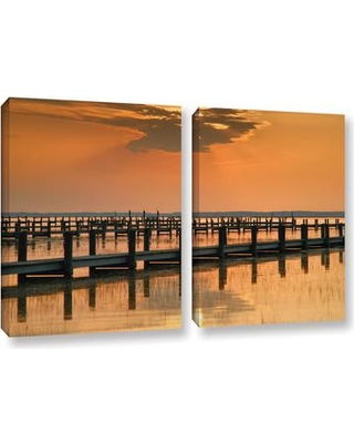 """ArtWall Silver And Gold by Steve Ainsworth 2 Piece Photographic Print on Wrapped Canvas Set 0ain090bw Size: 18"""" H x 28"""" W x 2"""" D"""