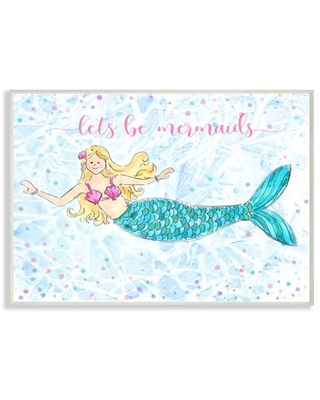 The Kids Room By Stupell Lets Be Mermaids Blue and Pink Swimming Mermaid Wall Plaque Art