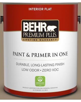 BEHR PREMIUM PLUS 1 gal. #N310-5 Weathered Fossil Flat Low Odor Interior Paint and Primer in One