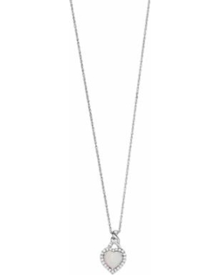 """""""Sterling Silver Lab-Created White Opal Heart Pendant Necklace, Women's, Size: 18"""""""""""