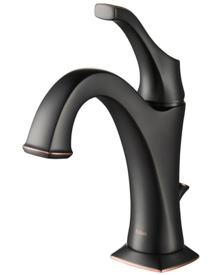 Kraus Arlo Oil Rubbed Bronze 1-Handle Single Hole WaterSense Bathroom Sink Faucet with Drain with Deck Plate   KBF-1201ORB