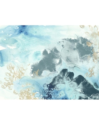 """Giant Art 54 in. x 72 in. """"Aqua Wave Form I"""" by June Erica Vess Wall Art, Blue"""