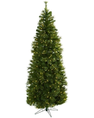 Nearly Natural 7.5 ft. Cashmere Slim Artificial Christmas Tree with Clear Lights