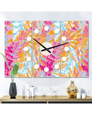 Oversized Retro Floral III Mid-Century Wall Clock East Urban Home