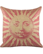 TheWatsonShop Sun Burlap Throw Pillow BBLUESUN16 / BPINKSUN16 Color: Pink