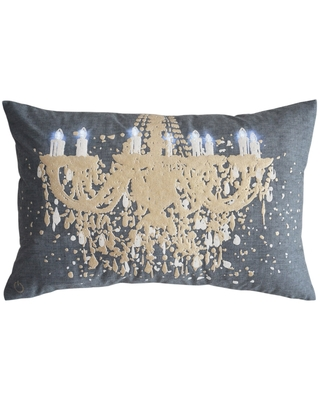 Cobalt Blue and Brass Illuminated Chandelier Decorative Pillow (Blue - Polyester - Rectangle - Traditional - Zipper Closure - Solid Color)