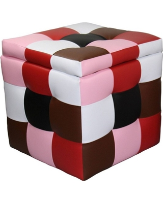 Block Storage Ottoman with 1 Seating Red - Ore International, Multi-Colored