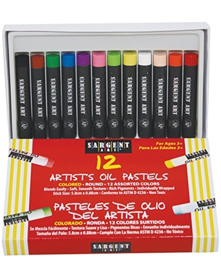 Sargent Art 22-2017 12-Count Oil Pastels Assorted, 5.9 by 0.9-Cm