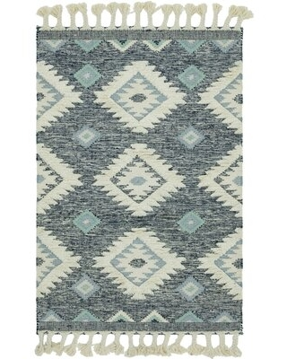 Shriver Southwestern Hand-Woven Flatweave Wool Navy Area Rug Union Rustic Rug Size: Rectangle 4' x 6'