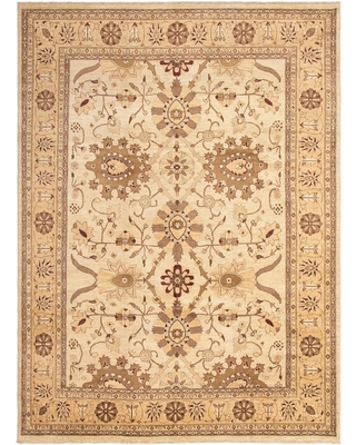 Hand-knotted Chobi Finest Cream Wool Rug - 9'10 x 13'5