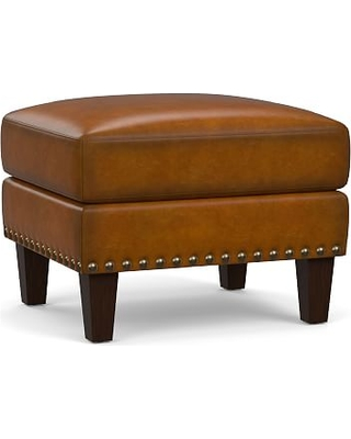 Harlow Leather Ottoman with Bronze Nailheads, Polyester Wrapped Cushions, Burnished Bourbon