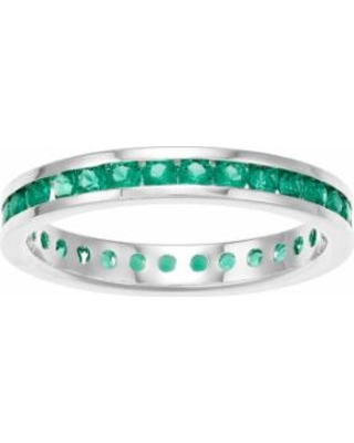 Traditions Sterling Silver Channel-Set Lab-Created Emerald Birthstone Ring, Women's, Size: 6, Green
