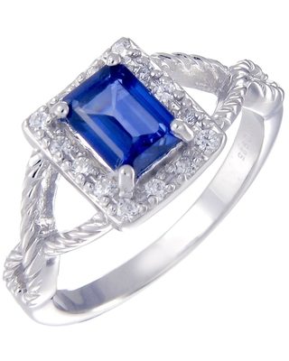 1 cttw Created Blue Sapphire Ring Emerald Shape .925 Sterling Silver Ring Size 7 (White - Sapphire - Blue - 7)