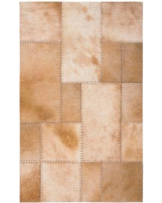 Union Rustic Stasia Geometric Handwoven Leather Beige Area Rug, Leather in Ivory/Cream, Size Rectangle 3' x 5' | Wayfair