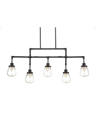 Elwell 5 - Light Kitchen Island Linear Pendant Ivy Bronx Finish: Dark Granite