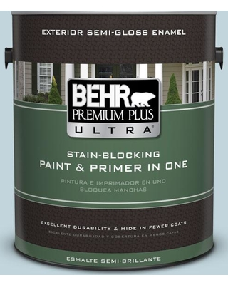 BEHR Premium Plus Ultra 1 gal. #S470-1 Cloudy Sky Semi-Gloss Enamel Exterior Paint and Primer in One
