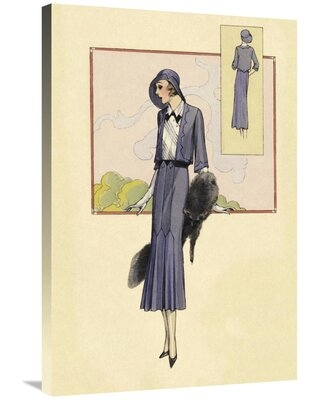 """'Stylish Blue Suit with Stole' Graphic Art Print on Canvas East Urban Home Size: 36"""" H x 24"""" W x 2"""" D"""