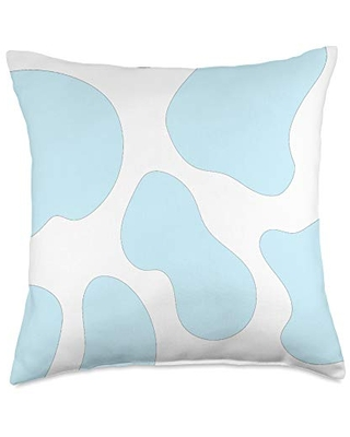 Cow Print Blue Spotted Cute Animal Pattern Throw Pillow, 18x18, Multicolor