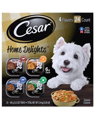 (24 Pack) CESAR HOME DELIGHTS Wet Dog Food Pot Roast & Vegetable, Beef Stew, Turkey Potato & Green Bean, and Hearth Chicken & Noodle Variety Pack, 3.5 oz. Easy Peel Trays