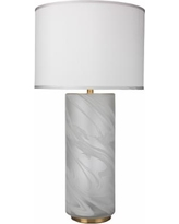 Streamer Large Matte Clear and White Swirl Glass Table Lamp