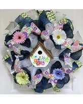 Lavender and Mint Spring Floral Handmade Deco Mesh Wreath 24 inch and 27 inch diameter available