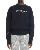 Givenchy Logo Metal Stitch Cotton Sweatshirt, Size X-Small in Black at Nordstrom