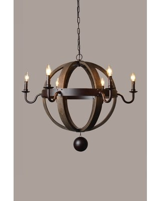 Clairville 6 - Light Candle Style Globe Chandelier with Wood Accents