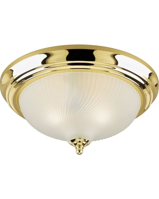 Westinghouse 3-Light Ceiling Fixture Polished Brass Interior Flush-Mount with Frosted Swirl Glass