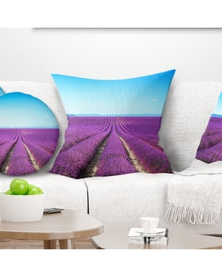 "Abstract Lavender Flower Blooming Fields Throw Pillow East Urban Home Size: 16"" x 16"", Product Type: Throw Pillow"