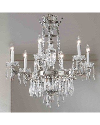 Classic Lighting Duchess 6-Light Candle Style Wagon Wheel Chandelier 57316 Finish: Aged Bronze Crystal Type: Antique Italian