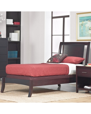 Floating Panel Twin-size Sleigh Bed (Nevis Espresso Twin-Size Low Profile Sleigh Bed)