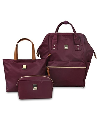 """J World New York Posy 3-Piece Backpack with Tote and Pouch, Wine, 16"""""""
