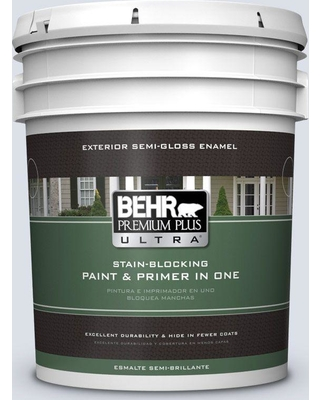 BEHR Premium Plus Ultra 5 gal. #ppl-70 Eastern Breeze Semi-Gloss Enamel Exterior Paint and Primer in One
