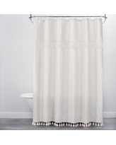 Solid Crochet with Tassels Shower Curtain White - Opalhouse