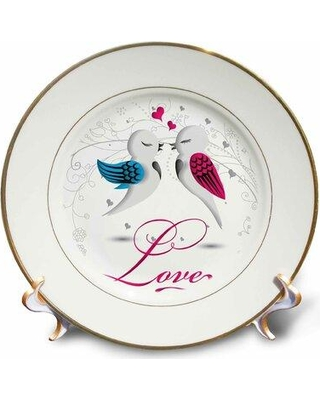 East Urban Home Two Love Birds with the Word Love Porcelain Decorative Plate W001631240