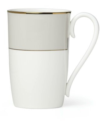 Pleated Bone China Coffee Mug Lenox Color: Gray/White