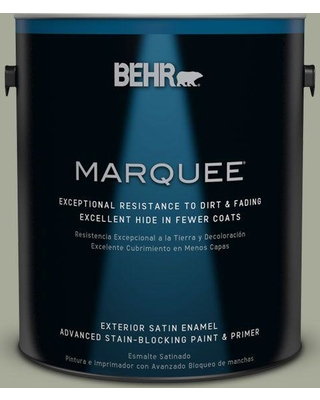 BEHR MARQUEE 1 gal. #PPU10-16 Simply Sage Satin Enamel Exterior Paint and Primer in One