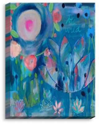 """'Be Wild Flowers' by Carrie Schmitt Painting Print on Wrapped Canvas DiaNoche Designs Size: 40"""" H x 30"""" W x 1.5"""" D"""
