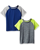Amazon Essentials Toddler Boys Active Performance Short-Sleeve T-Shirts, 2-Pack Navy/Heather Grey Colorblock, 2T