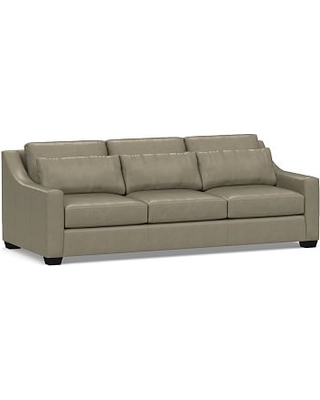 """York Deep Seat Slope Arm Leather Grand Sofa 95"""", Polyester Wrapped Cushions, Legacy Taupe"""