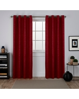 """Oxford Textured Sateen Thermal Room Darkening Grommet Top Window Curtain Panel Pair Chili Red 52""""x96"""" - Exclusive Home"""