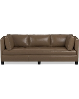 "Wilshire Apartment Sofa 86"" Italian Distressed Leather Solid Toffee"